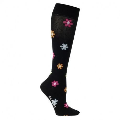 Chaussettes de contention coton noir avec fleurs