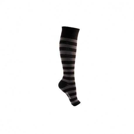 Chaussettes de contention coton pied ouvert à rayures
