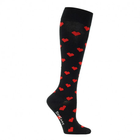 Chaussettes de contention coton - motif cœurs
