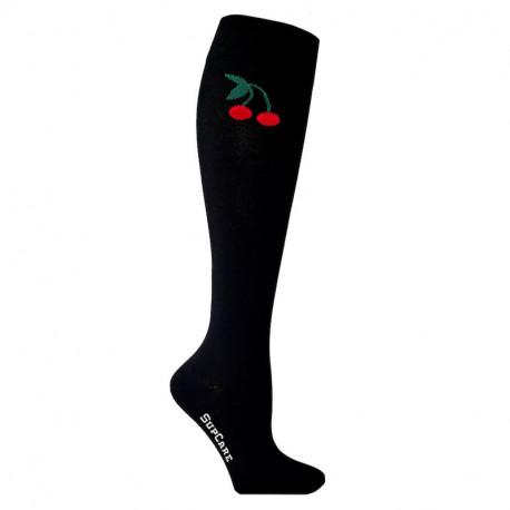 Chaussettes de contention coton noire avec motif cerises