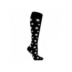 Chaussettes de contention coton noire avec motif étoiles