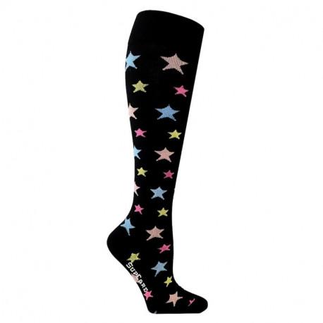 Chaussettes de contention coton noire avec motif étoiles colorés