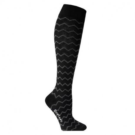 Lot 2 paires chaussettes de contention coton - fantaisie motif zig zag