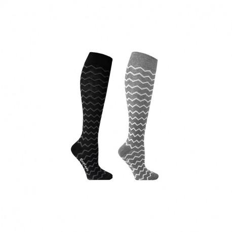 Chaussettes de contention coton motif zig zag