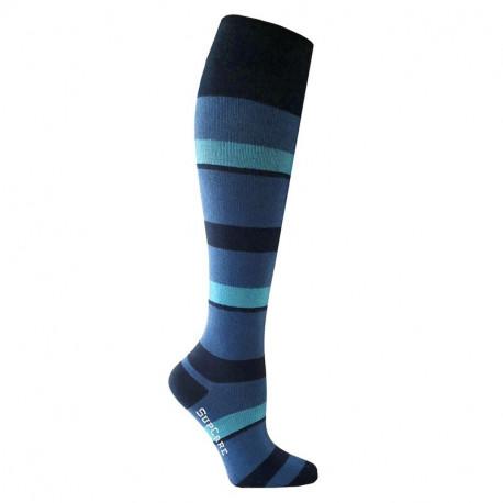 Chaussettes de contention coton - motif rayée bleu et turquoise