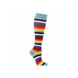 Chaussettes de contention coton bleu clair et rayures colorées