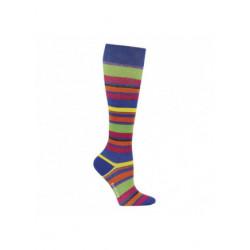 Chaussettes de contention coton bleu avec rayures colorées
